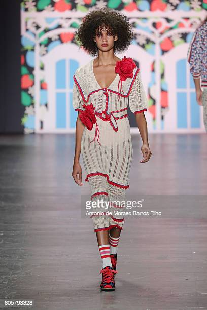 Model walks the runway at Anna Sui show during New York Fashion Week at The Arc, Skylight at Moynihan Station on September 14, 2016 in New York City.