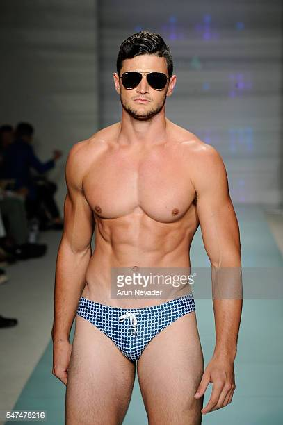 A model walks the runway at Argyle Grant Runway Show during Art Hearts Fashion Miami Swim Week Presented by AIDS Healthcare Foundation at Collins...