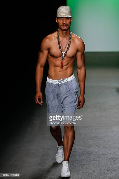 Model walks the runway at ASAF Ganot during New York Fashion Week: Men's S/S 2016 at Art Beam on July 15, 2015 in New York City.