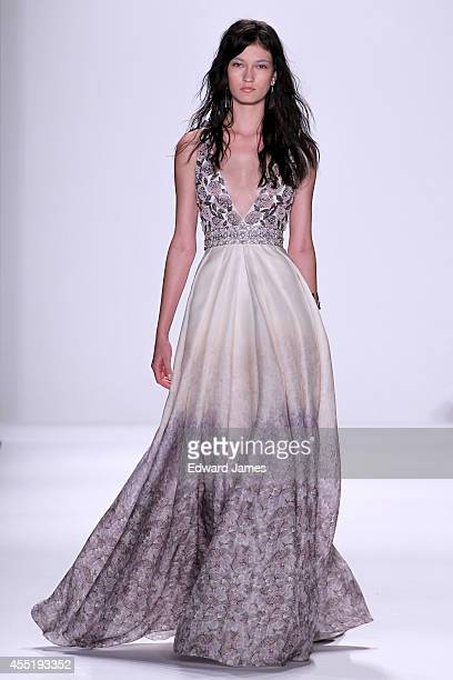 Model walks the runway at Badgley Mischka during Mercedes-Benz Fashion Week Spring 2015 at The Theatre at Lincoln Center on September 9, 2014 in New...