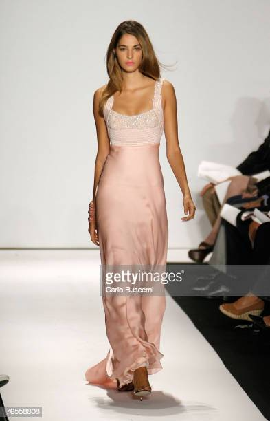 Model walks the runway at Badgley Mischka Spring 2008 during Mercedes-Benz Fashion Week at 40 West 39th Street on September 6, 2007 in New York City.