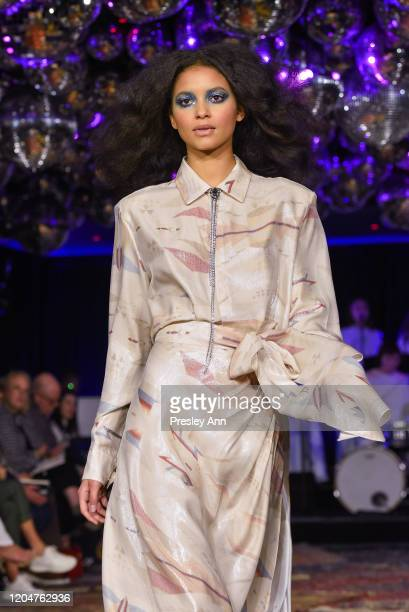 Model walks the runway at Baja East FW20 Los Angeles runway show at Sunset at EDITION on February 07 2020 in West Hollywood California