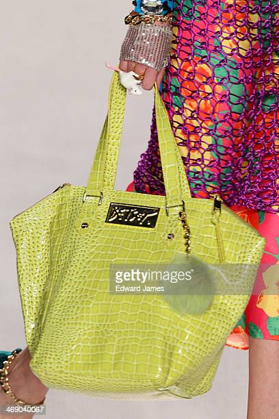 A model walks the runway at Betsey Johnson during MercedesBenz Fashion Week Fall 2014 at The Salon at Lincoln Center on February 12 2014 in New York...