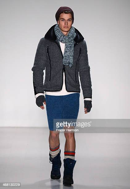A model walks the runway at Black Sail By Nautica during MercedesBenz Fashion Week Fall 2014 at The Salon at Lincoln Center on February 7 2014 in New...