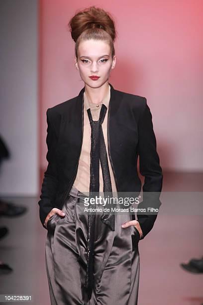 Model walks the runway at Bora Aksu S/S 2011 show at London Fashion Week at Victoria House on September 17, 2010 in London, England.