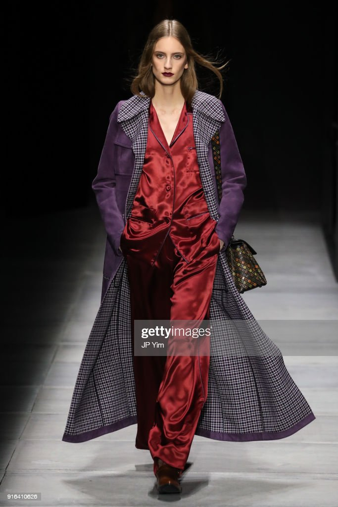 A model walks the runway at Bottega Veneta Fall/Winter 2018 Collection at the American Stock Exchange on February 9, 2018 in New York City.