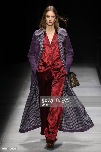 A model walks the runway at Bottega Veneta Fall/Winter 2018 Collection at the American Stock Exchange on February 9 2018 in New York City