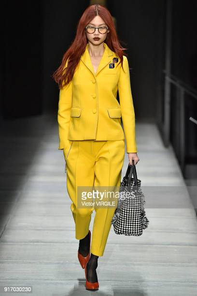 A model walks the runway at Bottega Veneta Ready to Wear Fall/Winter 20182019 during New York Fashion Week on February 9 2018 in New York City