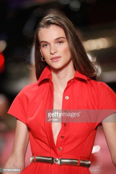 A model walks the runway at Brandon Maxwell during New York Fashion Week at Classic Car Club on September 8 2018 in New York City
