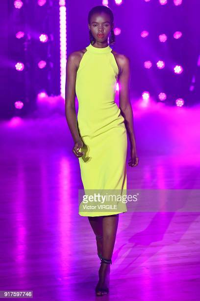 A model walks the runway at Brandon Maxwell Ready to Wear Fall/Winter 20182019 fashion show during New York Fashion Week on February 11 2018 in New...