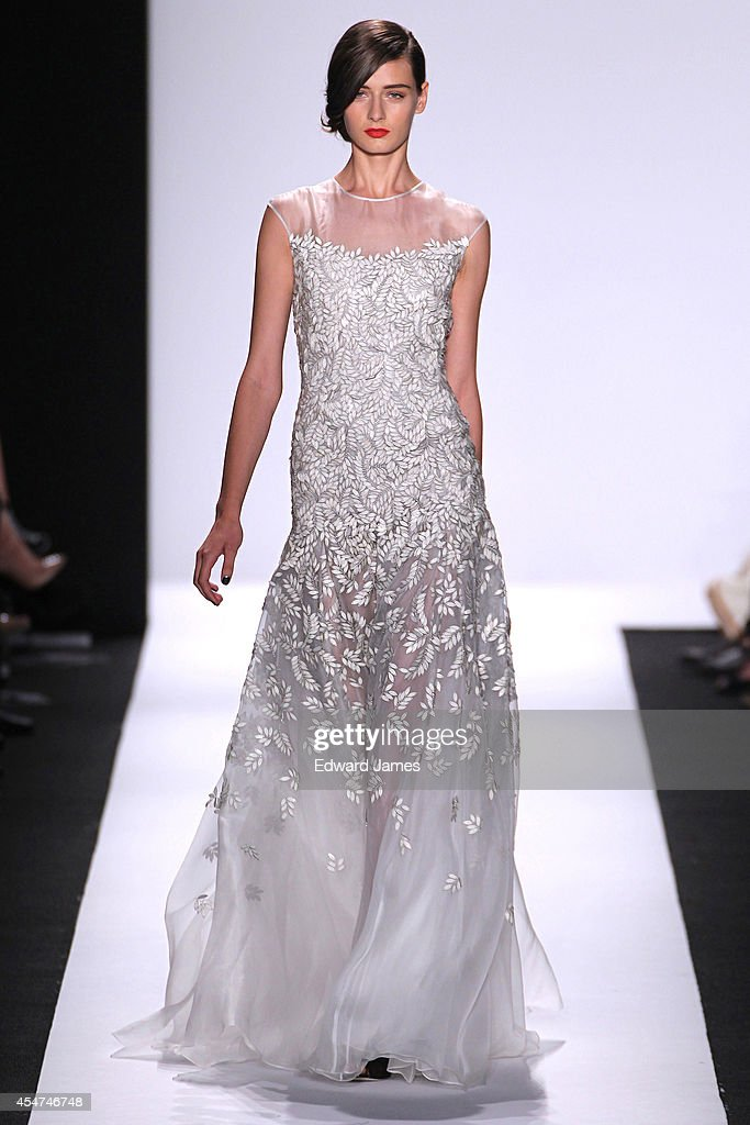 A model walks the runway at Carmen Marc Valvo during Mercedes-Benz Fashion Week Spring 2015 at The Theatre at Lincoln Center on September 5, 2014 in New York City.