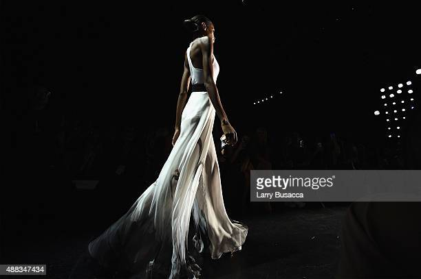 A model walks the runway at Carmen Marc Valvo seen around Skylight at Moynihan Station during Spring 2016 New York Fashion Week The Shows on...