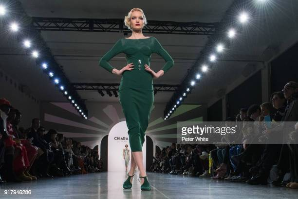 A model walks the runway at Chiara Boni La Petite Robe show during New York Fashion Week at Gallery II at Spring Studios on February 13 2018 in New...