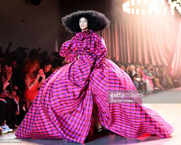A model walks the runway at Christopher John Rogers runway show at Gallery I at Spring Studios on February 08 2020 in New York City