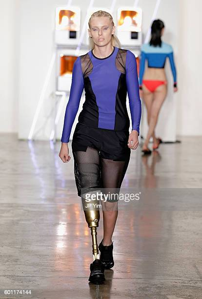 A model walks the runway at Chromat fashion show during MADE Fashion Week at Milk Studios on September 9 2016 in New York City