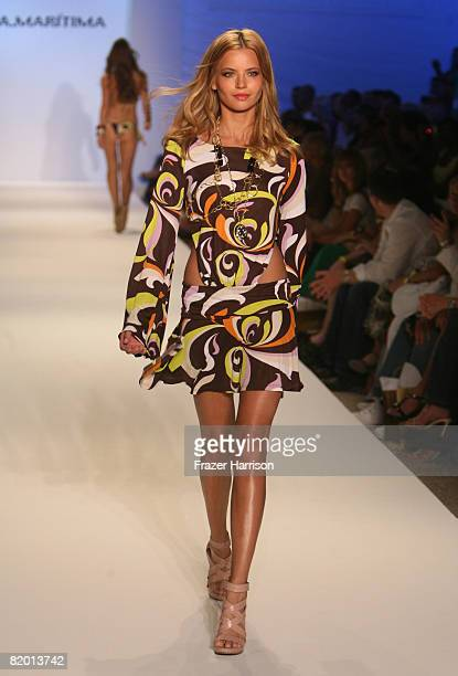 Model walks the runway at Cia.Maritima 2009 collection fashion show during Mercedes-Benz Fashion Week Swim at the Raleigh Hotel on July 20, 2008 in...