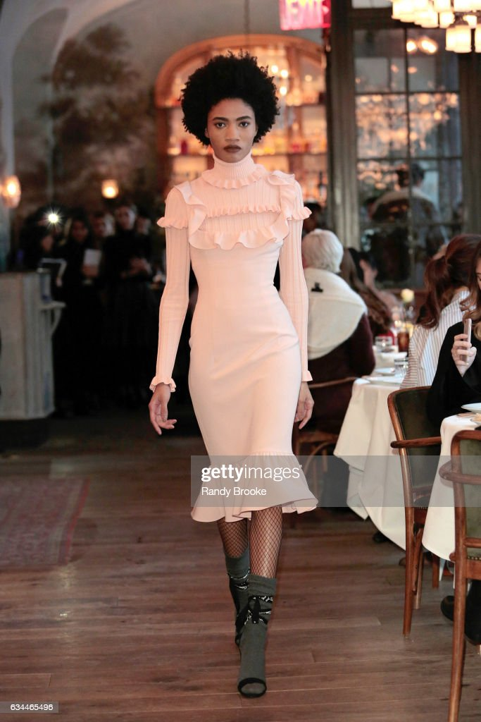 A model walks the runway at Cinq A Sept - Presentation - during the February 2017 - New York Fashion Week at Le Coucou 138 Lafayette Street on February 9, 2017 in New York City.
