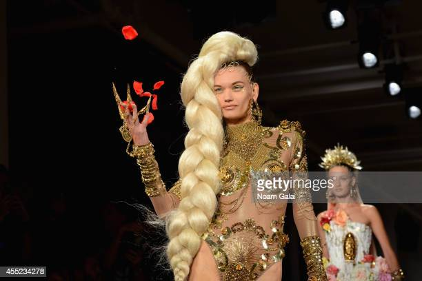 Model walks the runway at CND for The Blonds S/S 2015 at Milk Studios on September 10, 2014 in New York City.