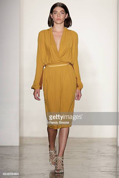 Model walks the runway at Costello Tagliapietra during MADE Fashion Week Spring 2015 at Milk Studios on September 4, 2014 in New York City.