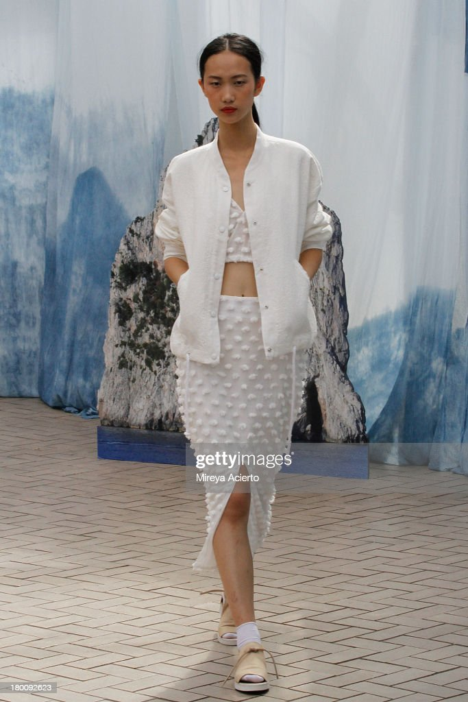 A model walks the runway at Creatures of Comfort Presentation at Maritime Hotel on September 8, 2013 in New York City.
