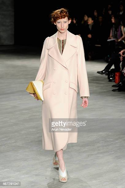 A model walks the runway at Creatures Of The Wind fashion show during MercedesBenz Fashion Week Fall 2014 at Lincoln Center on February 6 2014 in New...