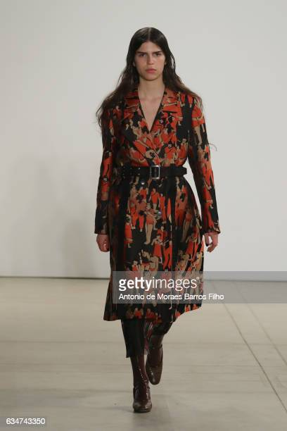 A model walks the runway at Creatures of the Wind show during New York Fashion Week at Gallery 2 Skylight Clarkson Sq on February 11 2017 in New York...