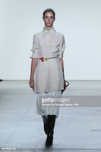 A model walks the runway at Creatures of the Wind show during New York Fashion Week at Gallery 2 Skylight Clarkson Sq on September 9 2017 in New York...