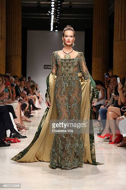 A model walks the runway at Curiel Couture fashion show as part of AltaRoma AltaModa Fashion Week Fall/Winter 2015/16 at Palazzo Delle Esposizioni on...