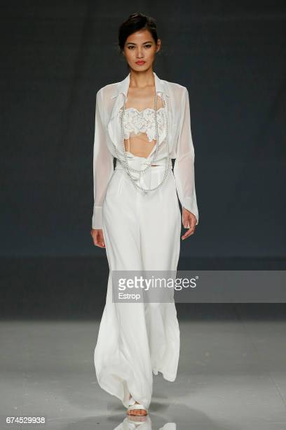 A model walks the runway at Cybmeline show during Barcelona Bridal Fashion Week 2017 on April 28 2017 in Barcelona Spain