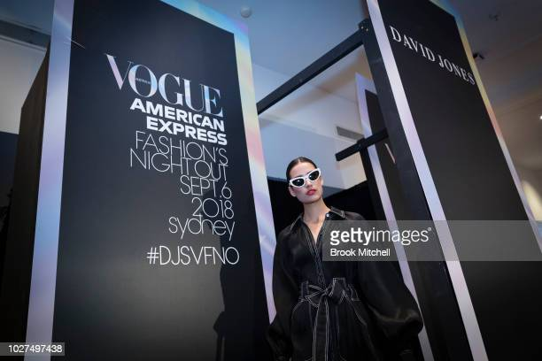 A model walks the runway at David Jones during Vogue American Express Fashion's Night Out on September 6 2018 in Sydney Australia