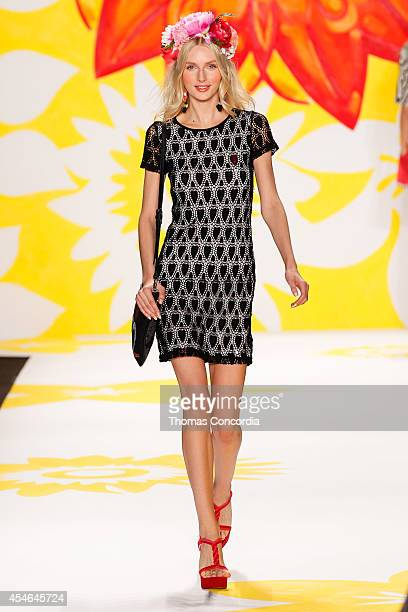 A model walks the runway at Desigual during MercedesBenz Fashion Week Spring 2015>> at The Theatre at Lincoln Center on September 4 2014 in New York...