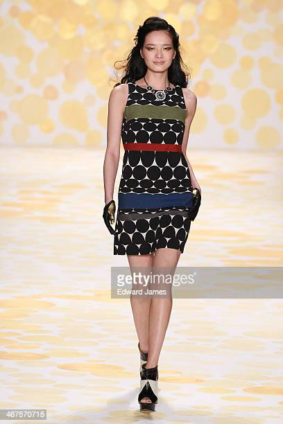 A model walks the runway at Desigual during MercedesBenz Fashion Week Fall 2014 at The Theatre at Lincoln Center on February 6 2014 in New York City