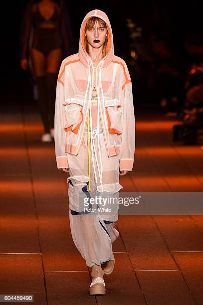 A model walks the runway at DKNY Women's Fashion Show during New York Fashion Week at High Line on September 12 2016 in New York City