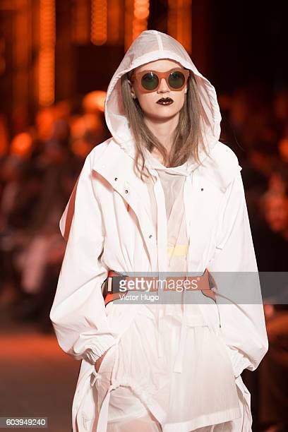 Model walks the Runway at DKNY Women's Front Row September 2016 New York Fashion Week at High Line on September 12 2016 in New York City