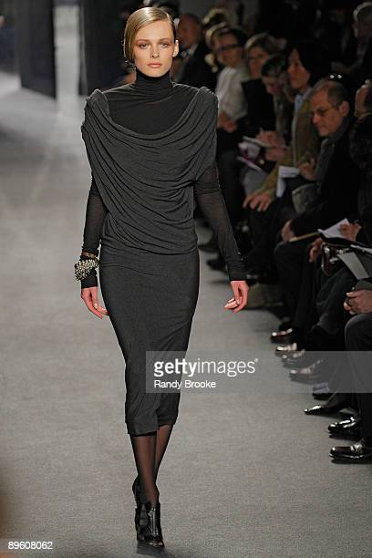 Model walks the runway at Donna Karan Fall 2009 during Mercedes-Benz Fashion Week at 711 Greenwich Street on February 16, 2009 in New York City.