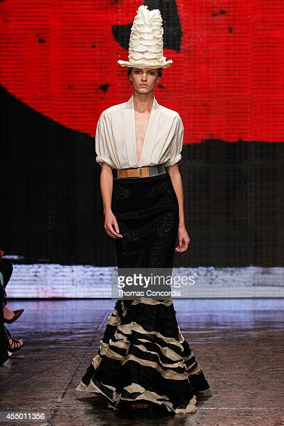 Model walks the runway at Donna Karan New York during Mercedes-Benz Fashion Week Spring 2015 at 547 West 26th Street on September 8, 2014 in New York...
