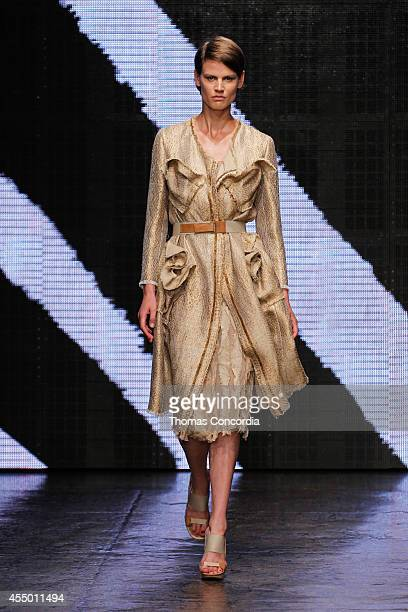 A model walks the runway at Donna Karan New York during MercedesBenz Fashion Week Spring 2015 at 547 West 26th Street on September 8 2014 in New York...