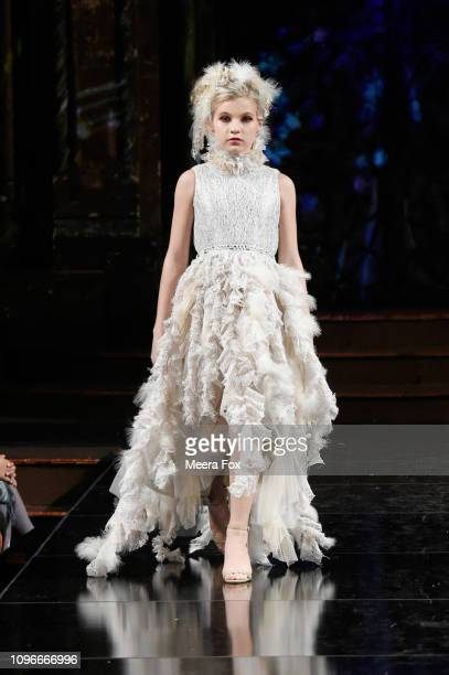 A model walks the runway at ELENA COLLECTION At New York Fashion Week Powered By Art Hearts Fashion NYFW at The Angel Orensanz Foundation on February...