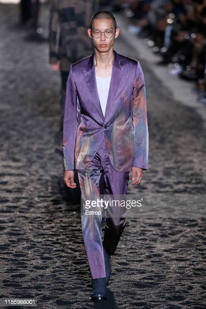 A model walks the runway at Ermenegildo Zegna fashion show at Aree Ex Falck during Milan Men's Fashion Week Spring/Summer 2020 on June 14 2019 in...