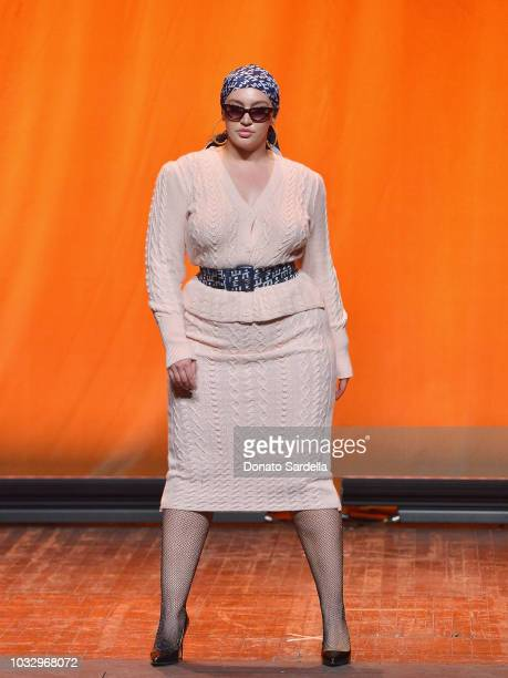 A model walks the runway at Eva Mendes for New York Company Fall Holiday 2018 Fashion Show at The Palace Theatre on September 13 2018 in Los Angeles...