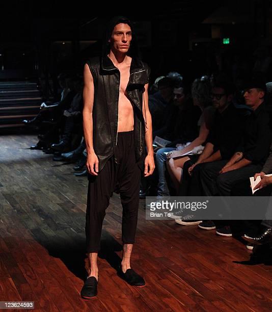 Model walks the runway at Exchange LA Presents Anthony Franco, Skingraft, and Ashton Michael Spring 2011 Runway Presentation & After Party at...