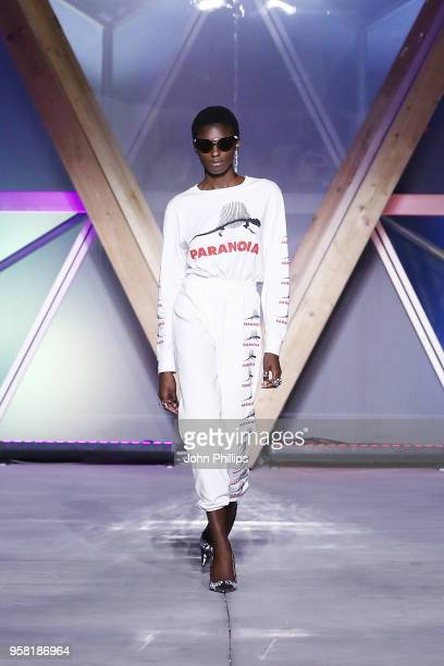 A model walks the Runway at Fashion for Relief Cannes 2018 during the 71st annual Cannes Film Festival at Aeroport Cannes Mandelieu on May 13 2018 in...