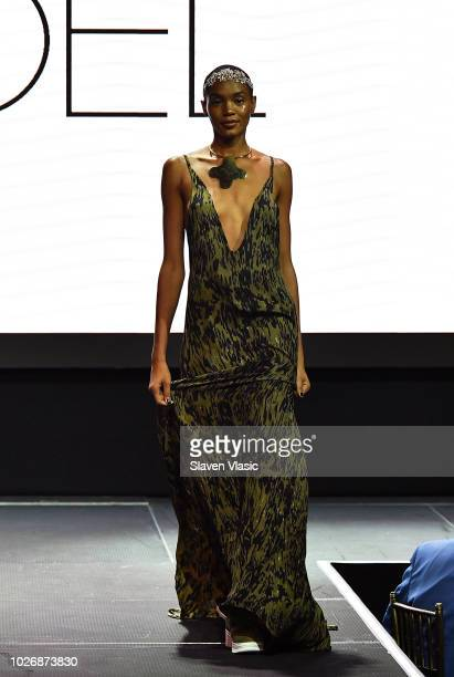 A model walks the runway at Fe Noel fashion show during New York Fahion Week at Capitale on September 4 2018 in New York City