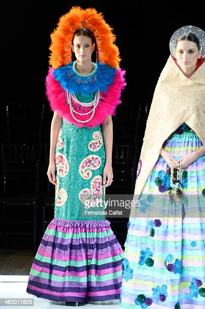 Model walks the runway at FH por Fause Haten show during Sao Paulo Fashion Week Summer 2014/2015 at Parque Candido Portinari on April 2 2014 in Sao...