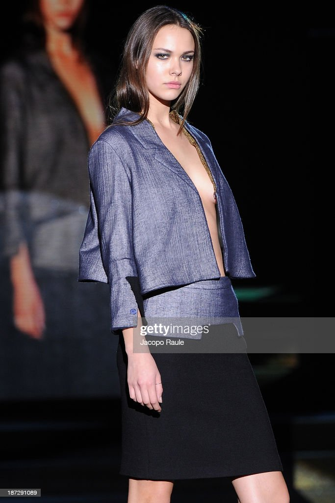 A model walks the runway at Gianluca Viscomi and Alessandro Canti Fashion Show during the Mittelmoda Special Edition 2013 for Lectra on November 7, 2013 in Milan, Italy.