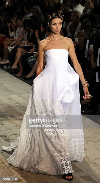 A model walks the runway at Givenchy fashion show during Paris Fashion Week Haute Couture A/W 2010 at Parc Georges Brassens on July 7 2009 in Paris...