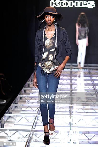 Model walks the runway at Hammerstein Ballroom on February 10, 2012 in New York City.