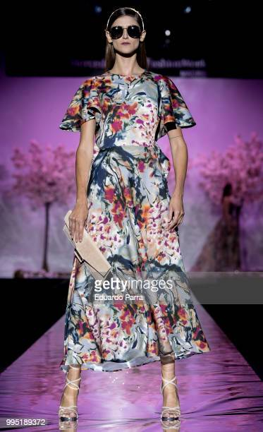 A model walks the runway at Hannibal Laguna show at Mercedes Benz Fashion Week Madrid Spring/ Summer 2019 on July 10 2018 in Madrid Spain