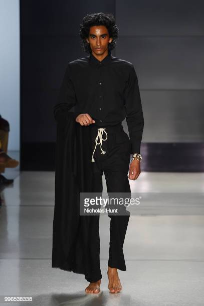 A model walks the runway at Head Of State show during New York York City Men's Fashion Week at Cadillac House on July 11 2018 in New York City