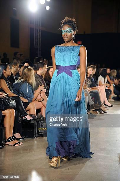 Model walks the runway at Hendrik Vermeulen show during Spring 2016 during New York Fashion Week at Vanderbilt Hall at Grand Central Terminal on...
